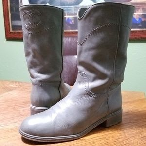 Auth CHANEL Ascot CC Western Cowboy Boots